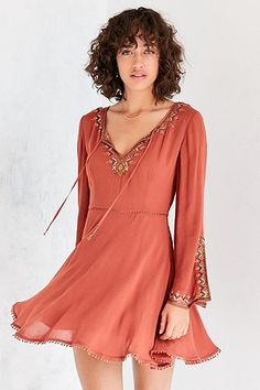 Ecote Holly Embroidered Bell-Sleeve Orange Mini Dress