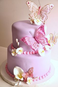 Pink and Purple Butterfly cake Gorgeous Cakes, Pretty Cakes, Cute Cakes, Amazing Cakes, Purple Butterfly Cake, Butterfly Cakes, Cakes With Butterflies, Butterfly Party, Butterfly Birthday