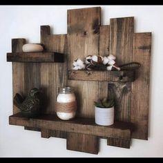 Wood pallet wall shelf o wood pallet wall shelves. Rustic Wall Shelves, Pallet Wall Shelves, Rustic Floating Shelves, Wood Wall Shelf, Rustic Walls, Rustic Decor, Farmhouse Decor, Rustic Charm, Modern Farmhouse
