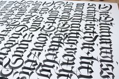 """lordmx:  """"Fractura practice. Letters x-high are 4,5cm, with brush and gouache on paper"""" — Tobias-David Albert"""