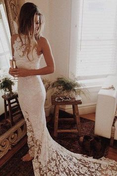 Hot Sales High Neck White Lace Elegant Mermaid Bridal Gowns Wedding Dresses LD321 #Weddingsgames