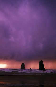 Sunset over Needles On The Ocean at Cannon Beach, Oregon; photo by Craig Tuttle