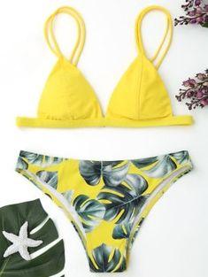 Cami Palm Leaf Print Bikini - Yellow M