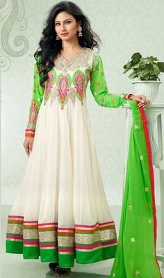 Mouni Roy White and Green Long Length Anarkali Suit Price: Usa Dollar $118, British UK Pound £69, Euro87, Canada CA$126 , Indian Rs6372.
