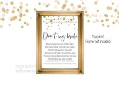 Printable bridal shower game, dont say bride game, clothespin game, dont say wedding game, wedding ring game, dont say bride sign, gold bridal shower game, wedding shower game, dont say it game - INSTANT DOWNLOAD! This classic bridal shower game makes a fun activity all guests can enjoy #bridalshowergame #don'tsaybride #dontsaywedding #dontsayitgame #goldbridalshower #bridalshoweractivity Bridal Shower Activities, Printable Bridal Shower Games, Wedding Shower Games, Wedding Games, Bridal Shower Invitations, Plastic Wedding Rings, Bachelorette Themes, Ring Game, Gold Bridal Showers