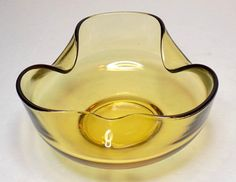 1970s Honey Brown Glass Bowl Crimp Folded Edge by TimeEnoughAtLast