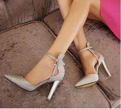 blue silver sparkling wedding shoes ankle strap buckle thick heels prom gown dress shoes