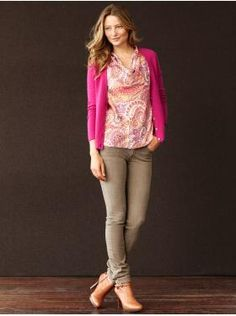I like this hot pink with taupes and greys trend.