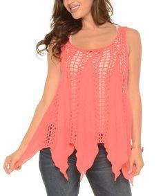 Look at this #zulilyfind! Coral Sheer Crochet Handkerchief Top - Plus by Shoreline #zulilyfinds