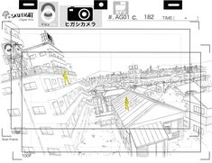 Yann Le Gall Online Portfolio: Background design / 背景(設定) Background Drawing, Landscape Background, Animation Background, Storyboard Drawing, Animation Storyboard, Environment Sketch, Environment Design, Landscape Concept, Landscape Art