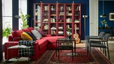 IKEA furniture and home accessories are practical, well designed and affordable. Here you can find your local IKEA website and more about the IKEA business idea. Red Bookcase, Bookcase With Glass Doors, Ikea Billy Bookcase, Glass Cabinet Doors, Canapé Ikea 2 Places, Canapé Convertible Ikea, Sofa Kivik, Living Room Red, Living Room Furniture
