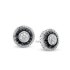 1/2 CT. T.W. Enhanced Black and White Diamond Flower Earrings in 10K White Gold