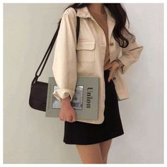 cream jacket brown sweater black skirt jumper sweatshirt jacket korean k fashion ulzzang 얼짱 autumn fall casual outfits clothes street everyday comfy aesthetic soft minimalistic kawaii cute g e o r g i a n a : c l o t h e s Fashion Trends 2018, Korean Fashion Trends, Asian Fashion, Look Fashion, Fashion Outfits, Fashion Ideas, Korea Fashion, K Fashion Casual, Korean Street Fashion Summer