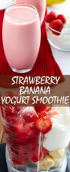 This strawberry banana smoothie with yogurt recipe is perfect for breakfast. High in protein and low in fat, it's a power drink that tastes like a dessert. Strawberry Banana Yogurt Smoothie, Smoothie Recipes With Yogurt, Breakfast Smoothie Recipes, Yogurt Smoothies, Yogurt Recipes, Healthy Recipes, Healthy Smoothies, Yogurt Drink Recipe, Banana Smoothies