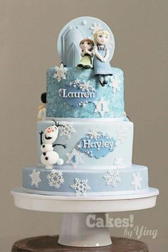 Frozen Little Elsa, Anna and Olaf cake toppers Elsa Birthday Cake, Frozen Themed Birthday Cake, Frozen Theme Cake, Frozen Themed Birthday Party, Baby Birthday Cakes, Themed Cakes, 4th Birthday, Carnival Birthday, Frozen Castle Cake
