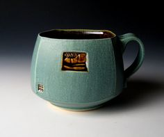Sqaure Green Soup Bowl or Large Mug with Mountain Carving -Nick Devries