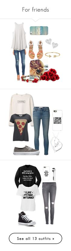 """For friends"" by triggerpickle1998 ❤ liked on Polyvore featuring Bling Jewelry, BLANKNYC, Nearly Natural, RVCA, GRETCHEN, Vivienne Westwood, Casetify, MANGO, Frame Denim and Vans"