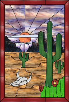 southwest  stained glass patterns | Southwest Desert Scene Faux Privacy Stained Glass Clings and Window ...