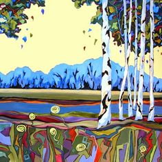 """Daily Painters of Oregon - Contemporary Fine Art  International: Contemporary painting of birch trees, """"Birch Banter Echo"""" completes diptych, by Carolee Clark, Philomath, Oregon Artist"""