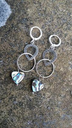 Abalone heart drop earrings 925 Sterling Silver Paua Long Dangle Drop Earrings shell earring silver earrings paua shell jewelery abalone - pinned by pin4etsy.com