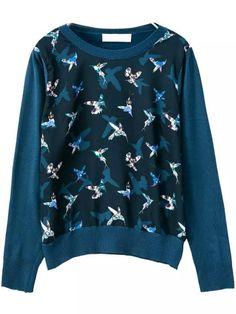 Romwe Round Neck Bird Print Sweater