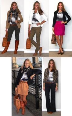 Peach Skirt + Leather Belt + Striped Shirt + Black Jacket + Polka Dot Scarf + Riding Boots