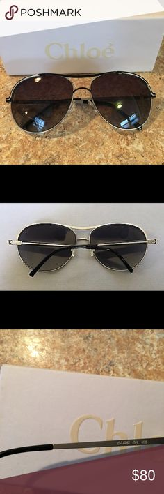 Chloe polarized aviator sunglasses Black and silver. Worn a couple of times. Do not have any scratches. I have the box, but I do not have the case. Chloe Accessories Sunglasses
