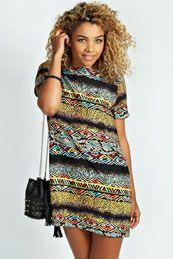 Livie Aztec Snake Print Short Sleeve Shfit Dress