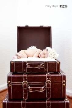 Newborn Caden at home.  Suitcases were a hand me down that sat in my closet forever until I started doing newborn photography.
