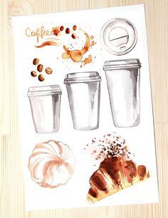 Coffee. Watercolors by irina.vaneeva on @creativemarket