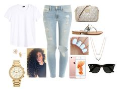 """""""Way too hard"""" by bustamantemariana ❤ liked on Polyvore featuring Frame Denim, Marc by Marc Jacobs, MICHAEL Michael Kors, Ray-Ban, Michael Kors, Jack Rogers, women's clothing, women, female and woman"""