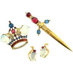 Vintage Philippe TRIFARI Sterling Crown Sword Rhinestone Figural Pins and Earrings Set