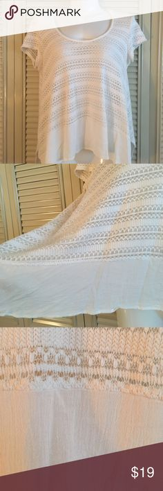 Alya white crocheted top - medium Beautiful crocheted top with linen type border on bottom. Flowy. You can change the color top you wear under to create many different looks. Alya Tops