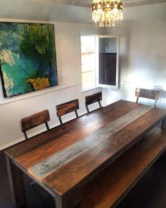 Beautiful Reclaimed Wood Dining Table  made in L o s  A n g e l e s by CloudNoir on Etsy https://www.etsy.com/listing/249060863/beautiful-reclaimed-wood-dining-table