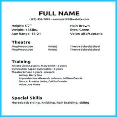 actor resume sample presents how you will make your professional or beginner actor resume the acting resume format can be in simple order as you will