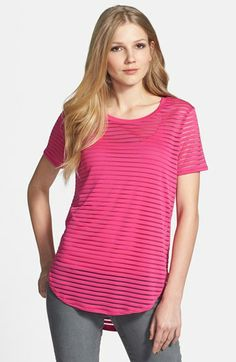 Vince Camuto Sheer Stripe Tee & Camisole available at #Nordstrom This is a good type of stripe for me: micro and of different weaves.