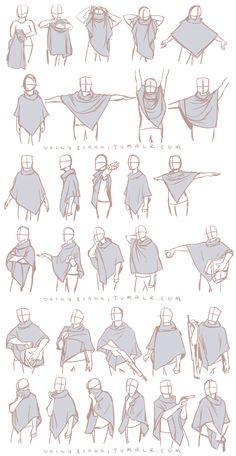 Art reference for drawing clothing (clothes) wrinkles and drapery // dailyriana: I finally managed to acquire a poncho in the style of the ones my characters in my comic wear and these are the first in a series of studies of it I'm making. Ponchos are very unusual and it's wonderful that I no longer have to guess how they look if I'm caught with a strange pose.