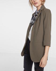 cuffed sleeve soft crepe boyfriend jacket
