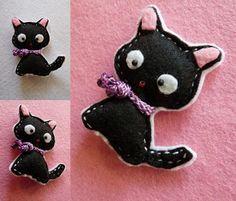 Broche de fieltro - gatito japonés,