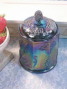 Indiana Carnival Glass Harvest Grape Purple Candy Canister