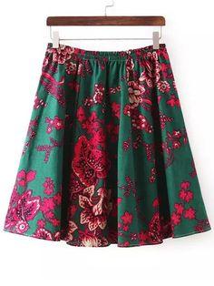 Multicolor+Elastic+Waist+Floral+Skirt+12.84