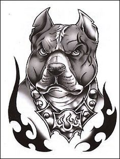 """Classic: Tough Dog Temporaray Tattoo by Tattoo Fun. $3.95. This is a Temporary tattoo of a black and white pit bull with a spiked collar and flames surrounding the dog. It measures approx 3"""" long x 2 1/4"""" wide."""