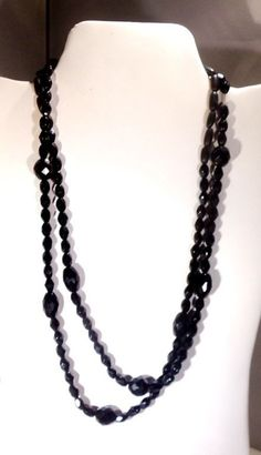 Black Onyx Faceted Bead Necklace hand Crafted 40 inch 2047 #Handmade #Strand