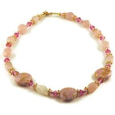 Lampwork bead and rose quartz necklace by MiSuenos on Etsy, $40.00