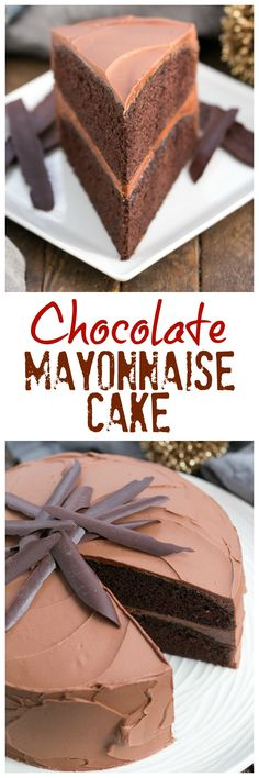 Chocolate Mayonnaise Cake | Rich, moist and irresistible! One of the BEST chocolate cake recipes you'll ever make! @lizzydo
