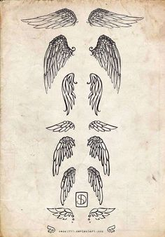 Tatuajes de ángeles para mujeres: Varios modelos de alas - Fuente: Pinterest