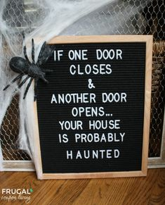 Halloween Felt Board Quote - If One Door Closes and Another Door Opens... Your House is Probably Haunted! #halloween #halloweenquotes #halloweenparty #feltboard #feltboardquote #halloweenfeltboard #halloweenfeltboardquote #flannelboard #Halloweenflannelboard #hauntedhouse