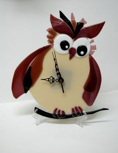 Fused Glass Owl Wall Clock Black Violet Home Decor by SophieRR, $220.00