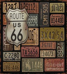 Old route sign and vehicle plates
