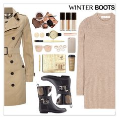 """""""Winter boots"""" by simona-altobelli ❤ liked on Polyvore featuring Burberry, Marni, Kevyn Aucoin, L. Erickson, Lipsy, Auden, Moleskine, Kate Spade, Cross and Linda Farrow Luxe"""